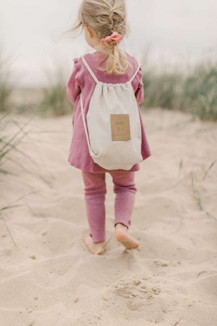 hiuma store, lniany worek dla dziecka, worek na plecy, lniany worek na plażę