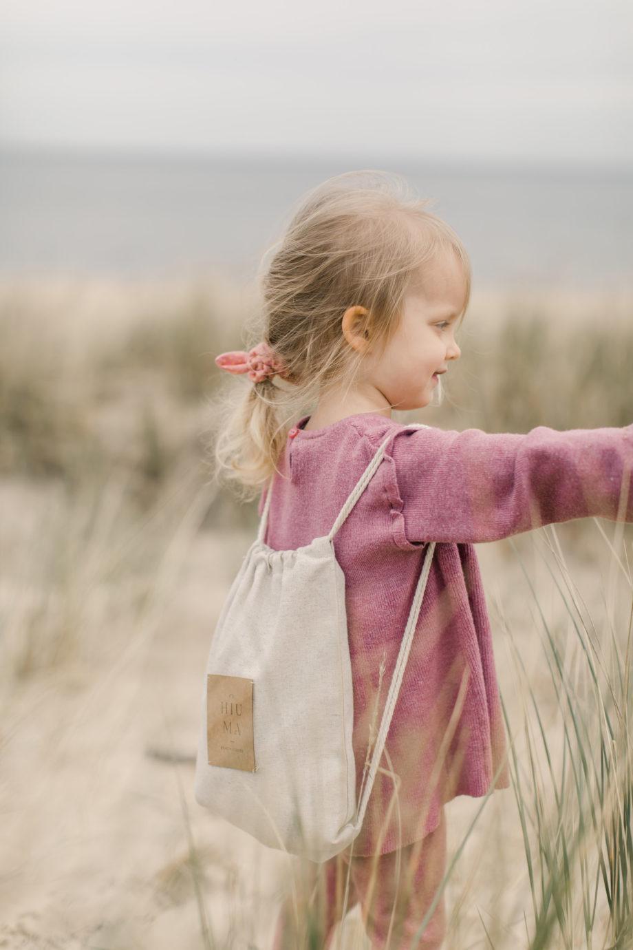 lniany plecak dla dziecka, plecak na plażę dla dziecka