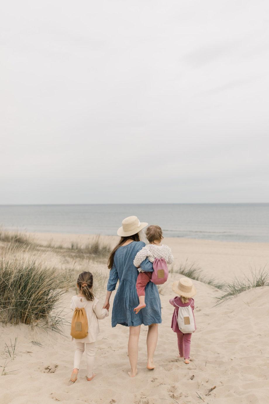 hiuma store, linen kids backpack, beach backpack