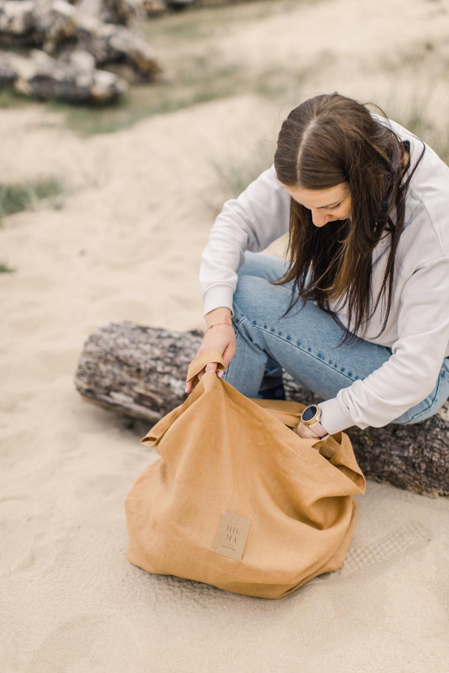 torba lniana hiumastore, lniana torba na plażę