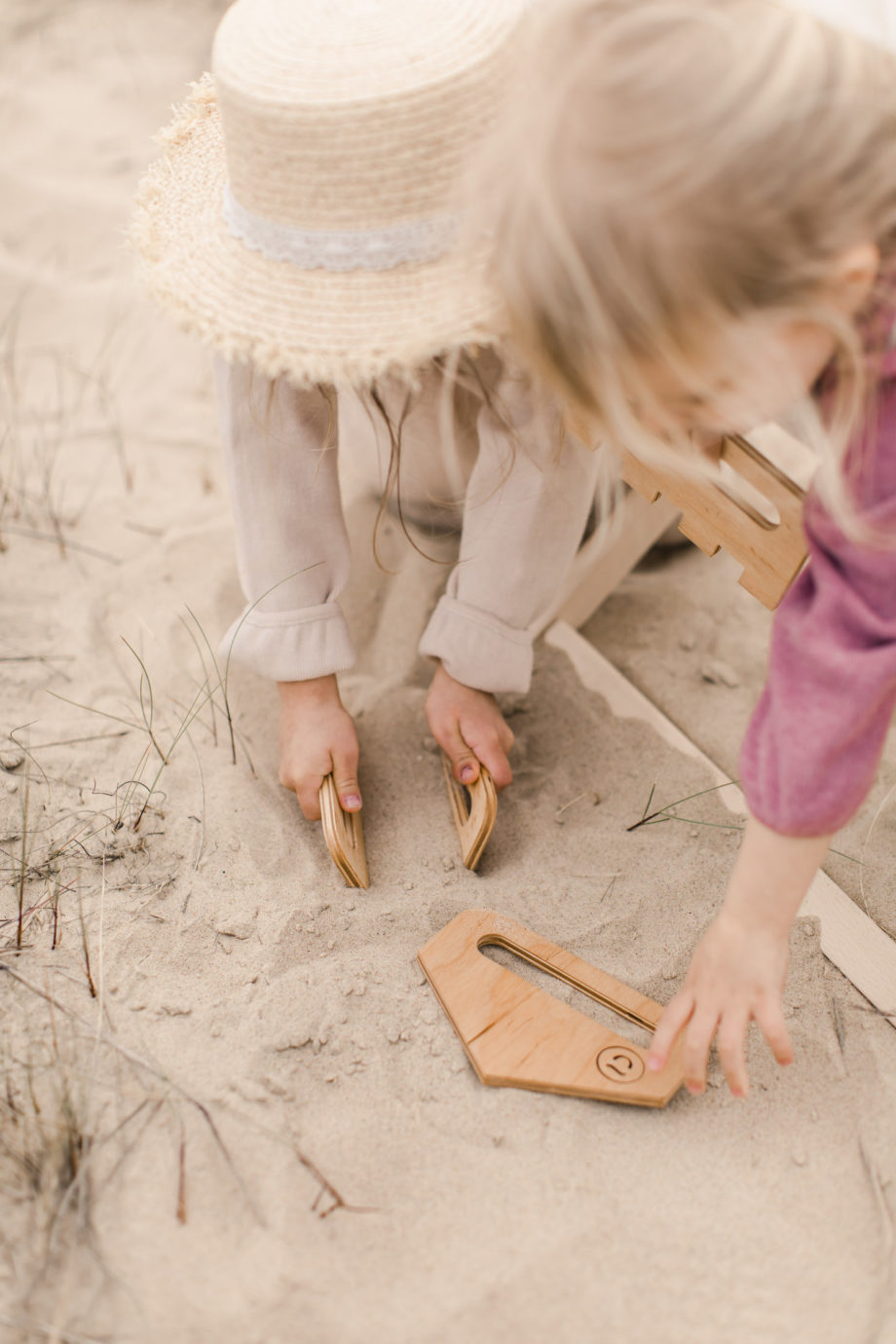 sand combs, wooden beach toys
