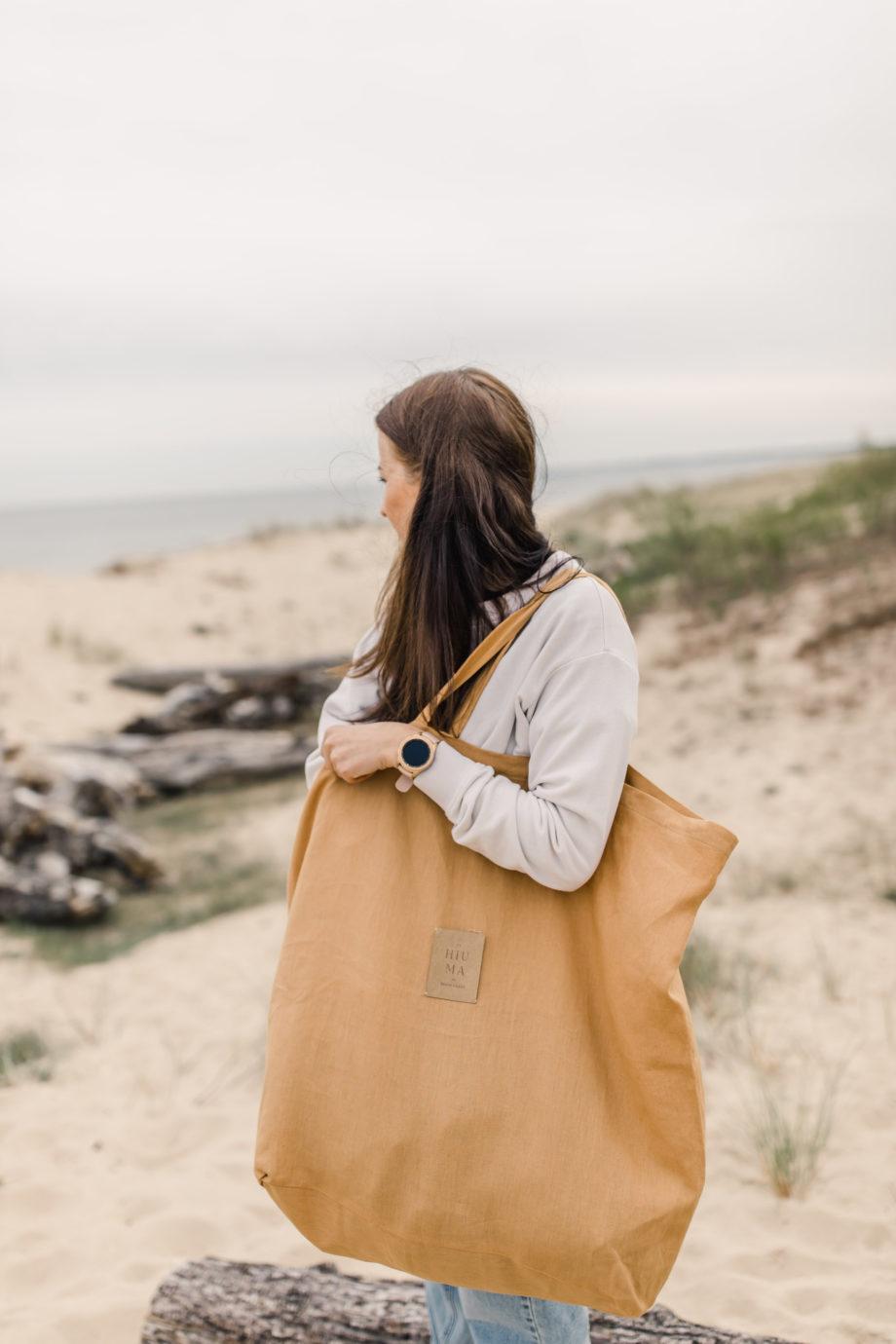 lniana torba plażowa, duża torba lniana
