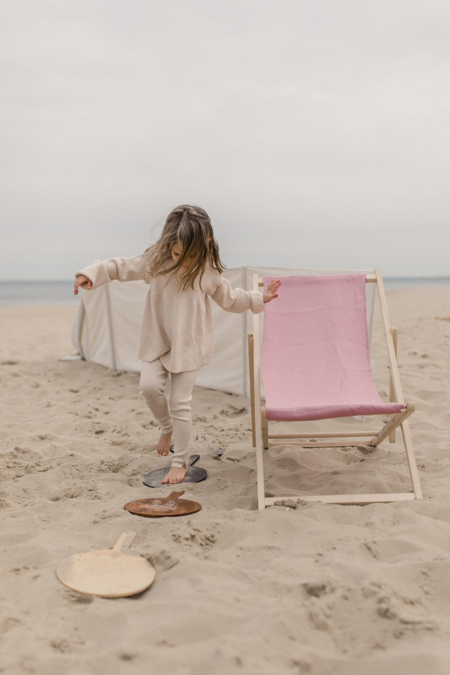 leżak plażowy, leżak na plażę, lniany leżak